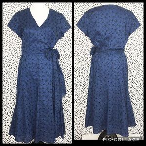 Talbots Dark Blue and Black Eyelet Faux Wrap Dress